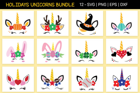 Ultimate Holidays Unicorns Bundle Graphic Crafts By All About Svg