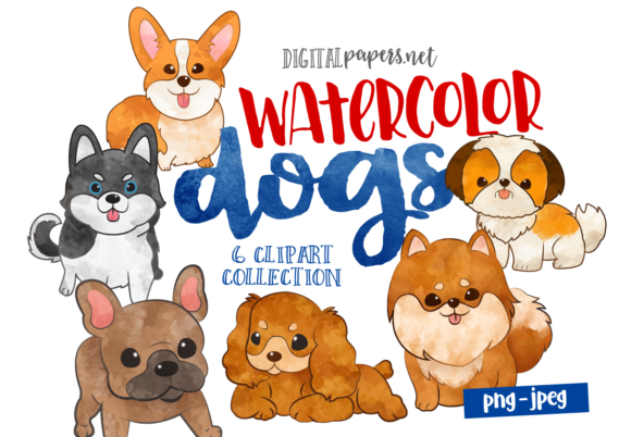 Print on Demand: Watercolor Puppies Graphic Illustrations By DigitalPapers