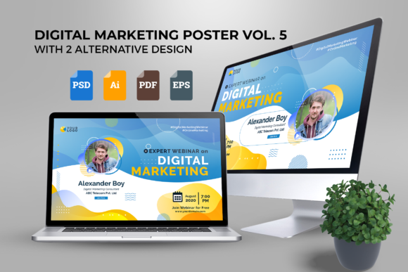 Print on Demand: Webinar Digital Marketing Poster Vol. 05 Graphic UX and UI Kits By ibeydesign