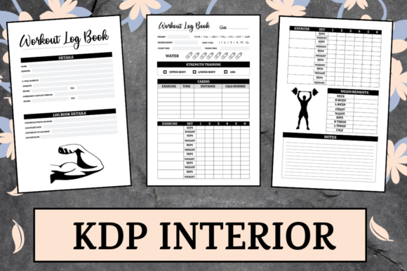 Print on Demand: Workout Log Book | KDP Interior Graphic KDP Interiors By Hungry Puppy Studio