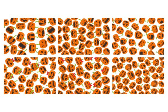 Print on Demand: Pattern with Halloween Pumpkin Theme Set Graphic Crafts By Arief Sapta Adjie II