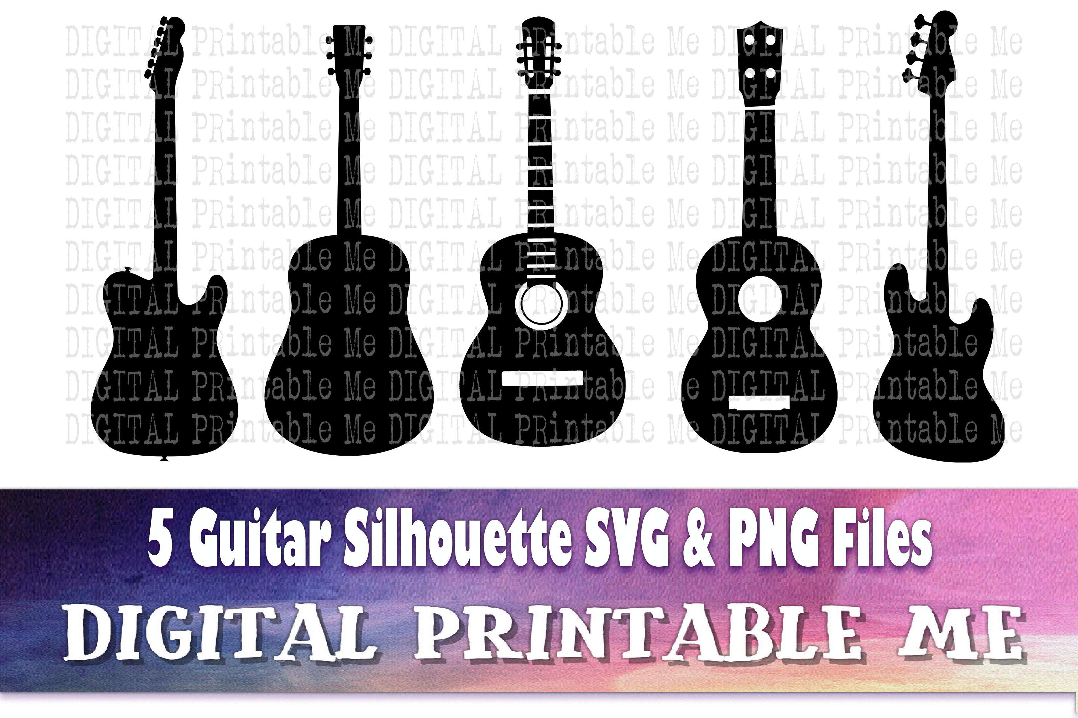 5 Guitar, Silhouette Rock Music Svg Png SVG File
