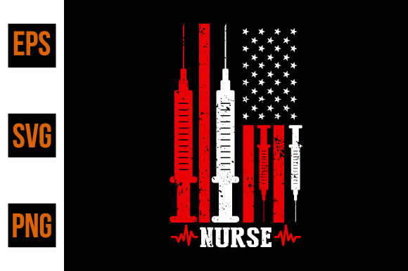 Print on Demand: American Flag Nurse, Nurse Gift Ideas Graphic Print Templates By ajgortee