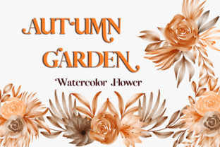 Print on Demand: Autumn Garden Watercolor Flower Clipart Graphic Illustrations By PinkPearly