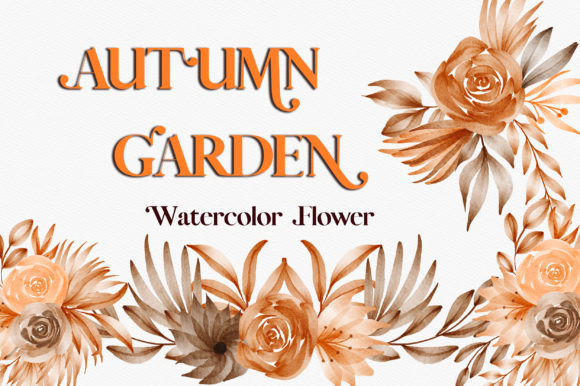 Autumn Garden Watercolor Flower Clipart Graphic Illustrations By PinkPearly