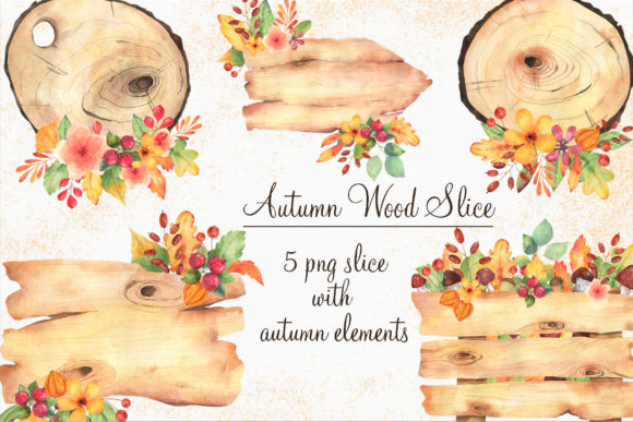 Print on Demand: Autumn Wood Slice Clipart in Watercolor Graphic Illustrations By VashaRisovasha