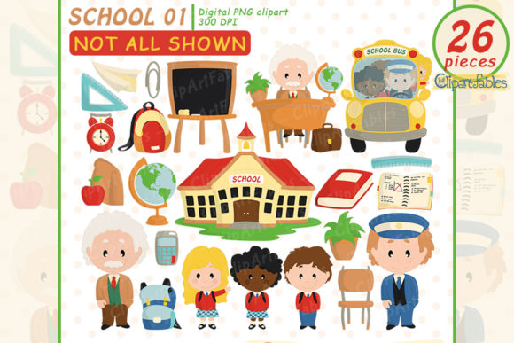 Back to School Clipart, Educational Art Graphic Illustrations By clipartfables