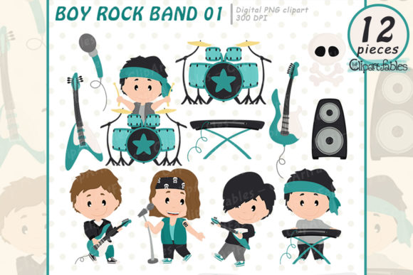 Boy Rock Star Clipart, Music Clip Art Graphic Illustrations By clipartfables
