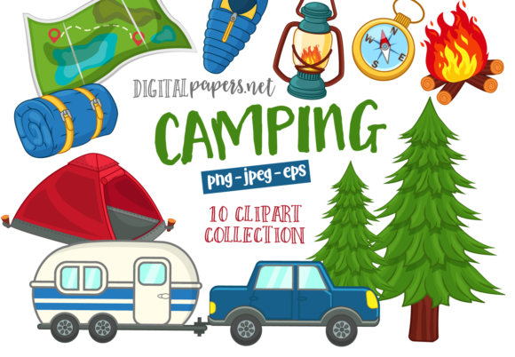 Print on Demand: Camping Clipart Set Graphic Illustrations By DigitalPapers