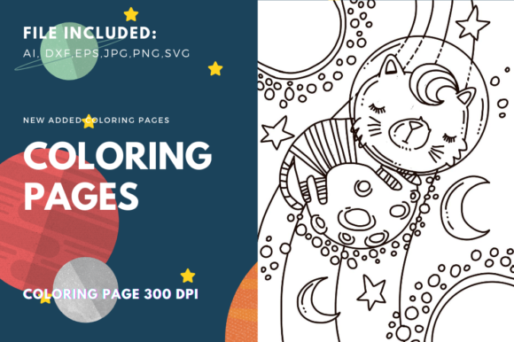 Print on Demand: Cat in the Space Coloring Page Graphic Coloring Pages & Books Kids By stanosh