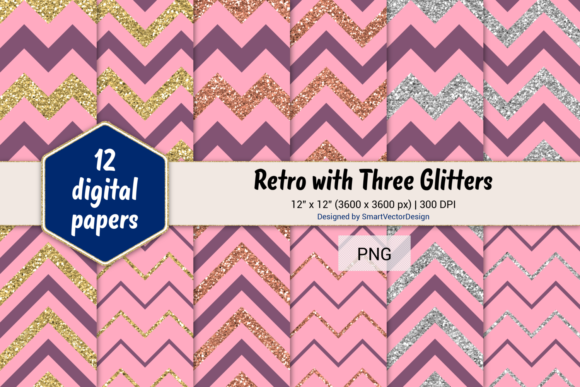 Print on Demand: Chevron Retro with 3 Glitters #13 Graphic Backgrounds By SmartVectorDesign