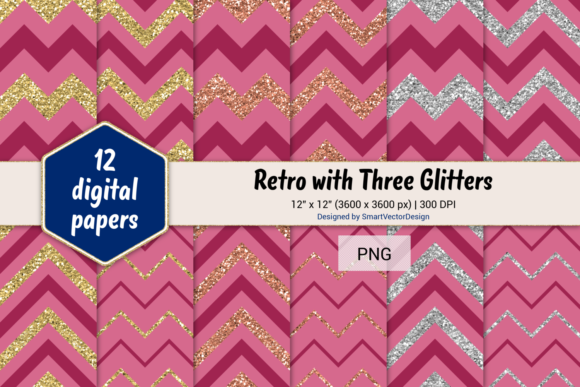 Print on Demand: Chevron Retro with 3 Glitters #15 Graphic Backgrounds By SmartVectorDesign