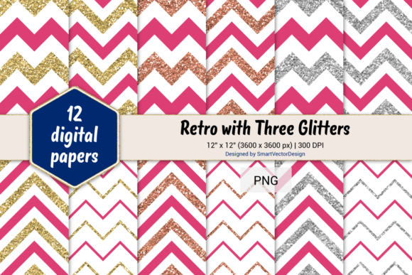 Print on Demand: Chevron Retro with 3 Glitters #16 Graphic Backgrounds By SmartVectorDesign