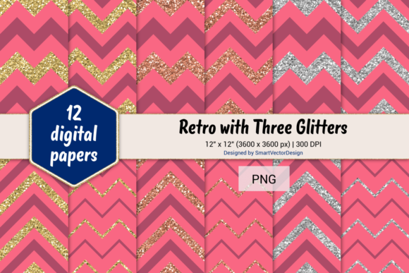 Print on Demand: Chevron Retro with 3 Glitters #18 Graphic Backgrounds By SmartVectorDesign