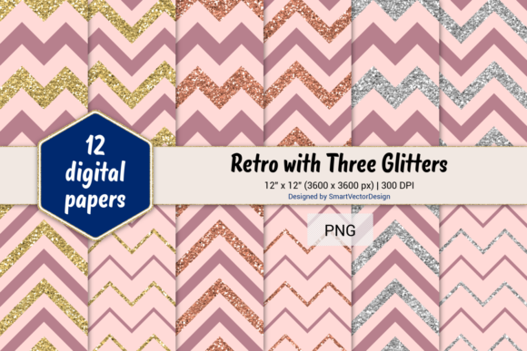 Print on Demand: Chevron Retro with 3 Glitters #20 Graphic Backgrounds By SmartVectorDesign