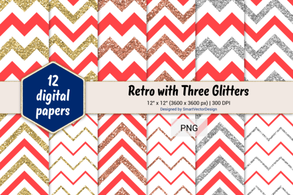 Print on Demand: Chevron Retro with 3 Glitters #21 Graphic Backgrounds By SmartVectorDesign