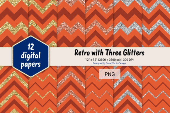 Print on Demand: Chevron Retro with 3 Glitters #23 Graphic Backgrounds By SmartVectorDesign