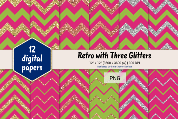 Print on Demand: Chevron Retro with 3 Glitters #25 Graphic Backgrounds By SmartVectorDesign