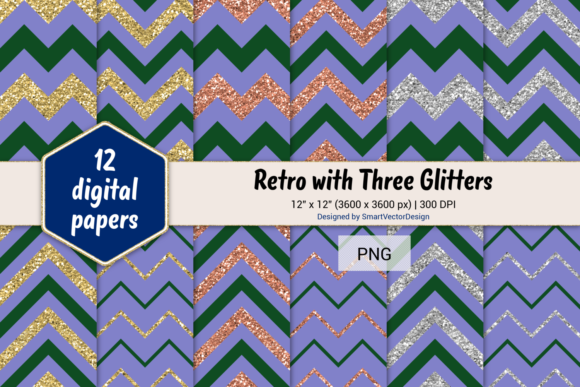 Print on Demand: Chevron Retro with 3 Glitters #67 Graphic Backgrounds By SmartVectorDesign