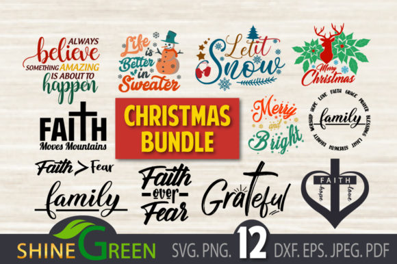 Print on Demand: Christmas - Believe, FamilyBundle Graphic Crafts By ShineGreenArt
