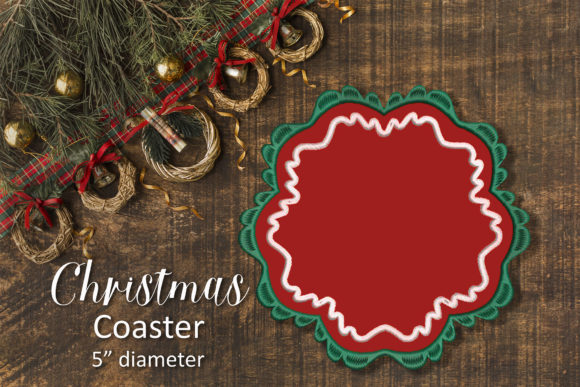 Print on Demand: Christmas Coaster Christmas Embroidery Design By Embroidery Shelter