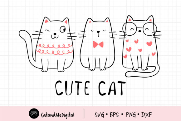 Clip Art Cute Cat Cutting File Graphic Illustrations By CatAndMe