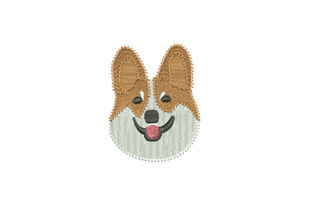 Print on Demand: Corgi Dog Head Dogs Embroidery Design By EmbArt