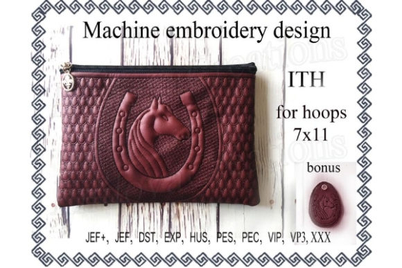Cosmetic Bag in the Hoop - Horse & Horseshoe Embroidery
