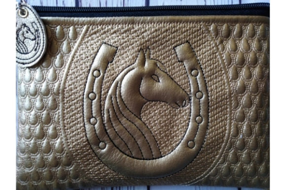 Cosmetic Bag in the Hoop - Horse & Horseshoe Embroidery Download