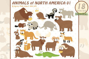 Cute Animals, USA Wildlife Clipart Graphic Illustrations By clipartfables