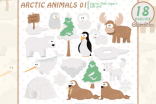 Cute Arctic Animals Clipart, North Pole Graphic Illustrations By clipartfables