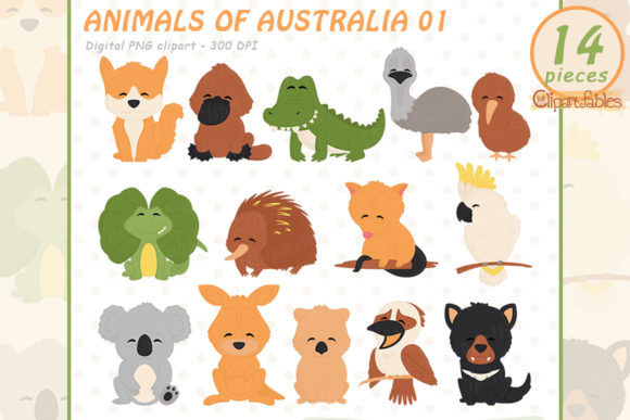 Cute Australian Animals Clipart Graphic Illustrations By clipartfables