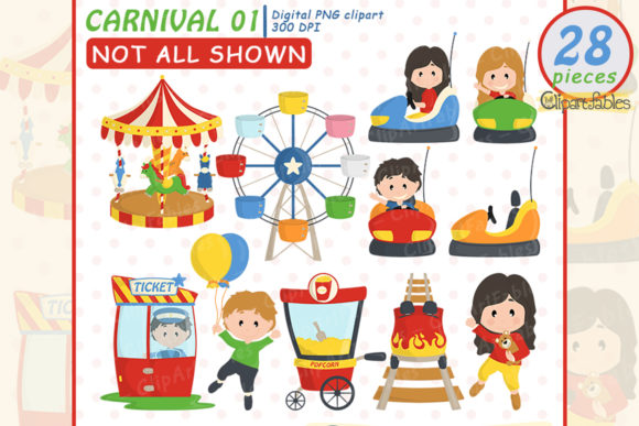 Cute Carnival Clipart, Amusement Park Graphic Illustrations By clipartfables