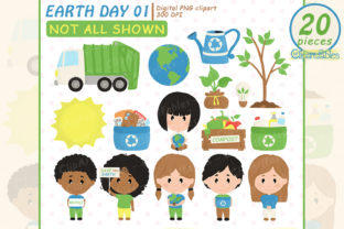 Cute Earth Day Clipart, Save the Earth Graphic Illustrations By clipartfables