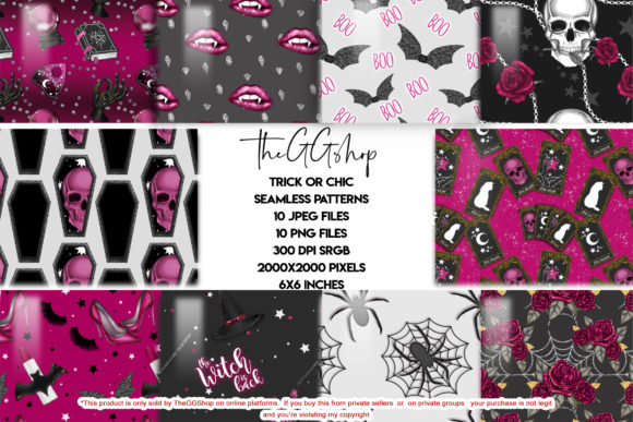Print on Demand: Cute Halloween Seamless Patterns Graphic Patterns By TheGGShop - Image 1
