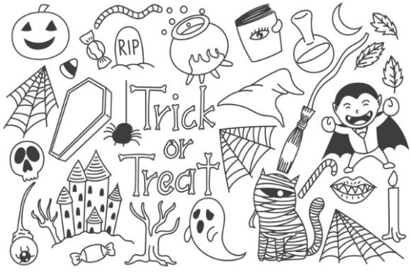 Print on Demand: Cute Halloween Doodles Black and White Graphic Illustrations By firdausm601