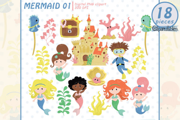 Cute Mermaid Clipart, Under the Sea Art Graphic Illustrations By clipartfables