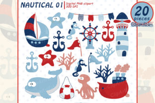 Cute Nautical Clipart for Kids, Sea Art Graphic Illustrations By clipartfables