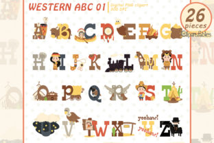 Cute Western Clipart, English Alphabet Graphic Illustrations By clipartfables