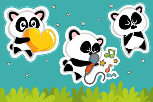 Cute Panda for Template Sticker Graphic Print Templates By onoborgol