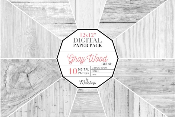 Print on Demand: Digital Paper Gray Wood Set 01 Graphic Patterns By Maishop
