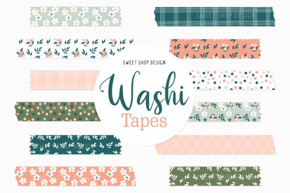 Digital Washi Tape Floral Fruity Graphic Illustrations By Sweet Shop Design