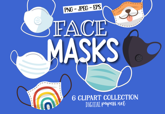 Print on Demand: Face Masks Clipart Graphic Illustrations By DigitalPapers