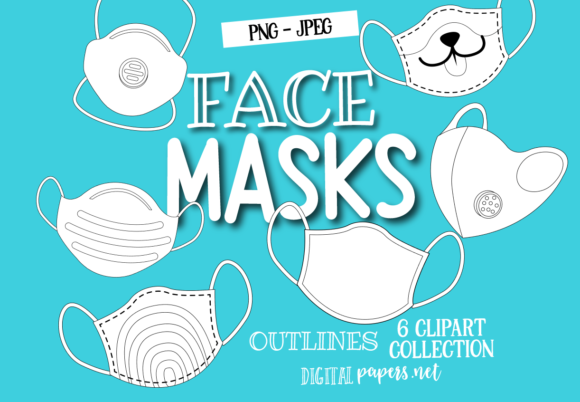 Print on Demand: Face Masks Outlines Grafik Illustrationen von DigitalPapers