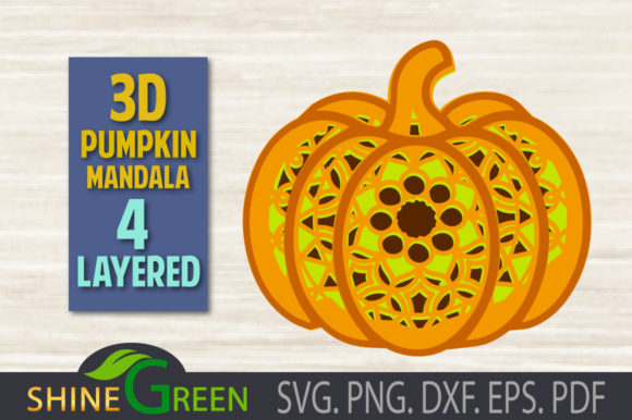 Print on Demand: Fall Pumpkin Mandala 3D Layered SVG, PNG Graphic 3D SVG By ShineGreenArt