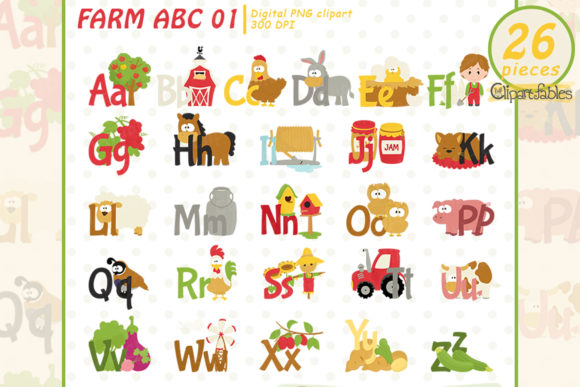Farm Alphablet Clipart, Barnyard ABC Graphic Illustrations By clipartfables