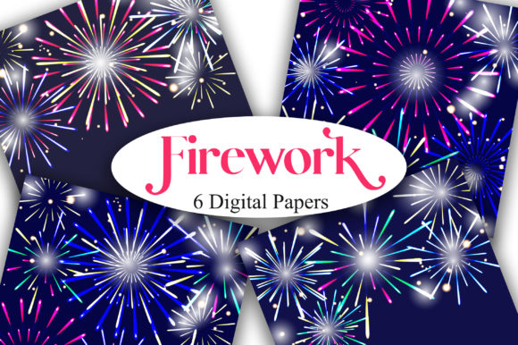Firework Background Digital Papers Graphic Backgrounds By PinkPearly