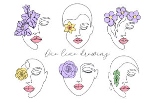 Floral Lady - One Line Art Graphic Illustrations By fatamorganaoptic