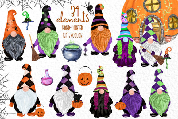 Gnomes Clipart Halloween Gnomes Clipart Graphic Illustrations By vivastarkids - Image 1