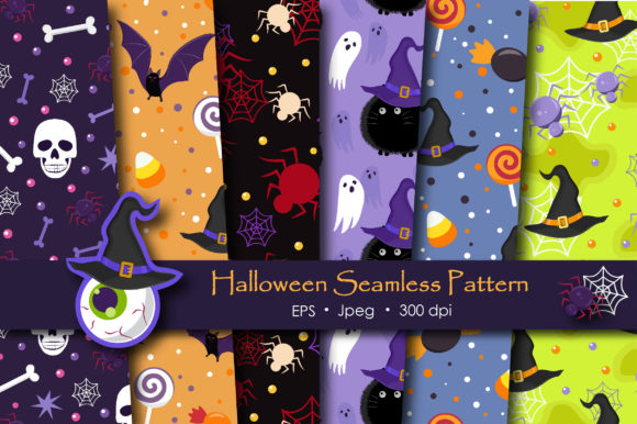 Print on Demand: Halloween Ghost and Witch Cat Pattern Graphic Patterns By jannta